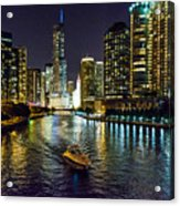 Chicago River At Night Acrylic Print