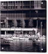 Chicago River Boats Bw Acrylic Print