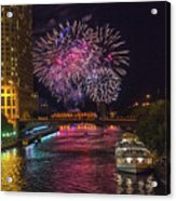 Chicago River Fireworks Acrylic Print