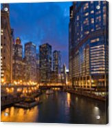 Chicago River Lights Acrylic Print