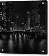 Chicago River Night Skyline Acrylic Print