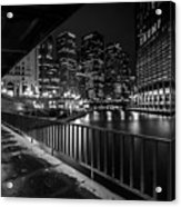Chicago River View In Black And White  Acrylic Print