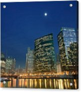 Chicago River With Skyline And Moon Acrylic Print