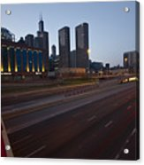 Chicago Skyline And Expressway Acrylic Print