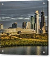 Chicago Skyline And Nature Preserve At Sunrise Acrylic Print