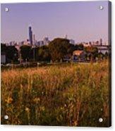 Chicago Skyline And Neighborhood Prairie Acrylic Print