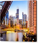 Chicago Skyline At Night And Kinzie Bridge Acrylic Print