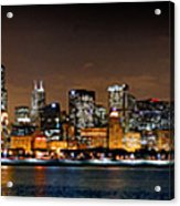 Chicago Skyline At Night Extra Wide Panorama Acrylic Print