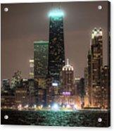 Chicago Skyline At Night North Ave Beach V2 Dsc1732 Acrylic Print