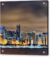 Chicago Skyline At Night Panorama Color 1 To 3 Ratio Acrylic Print