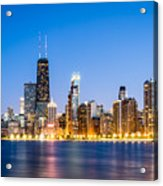 Chicago Skyline At Twilight Acrylic Print