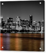 Chicago Skyline - Black And White With Color Reflection Acrylic Print
