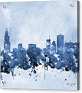 Chicago Skyline-blue 2 Acrylic Print