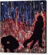 Chicago Skyline Fireworks Agony And The Waltz Acrylic Print by M Zimmerman