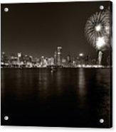 Chicago Skyline Fireworks Bw Acrylic Print by Steve Gadomski