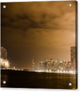 Chicago Skyline Fireworks Finale Acrylic Print by Anthony Doudt