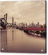 Chicago Skyline From The Southside With Red Bridge Acrylic Print