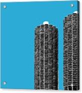 Chicago Skyline Marina Towers - Teal Acrylic Print