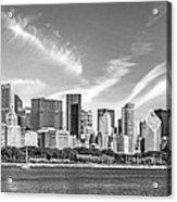 Chicago Skyline Panorama Black And White Acrylic Print