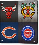 Chicago Sports Fan Recycled Vintage Illinois License Plate Art Bulls Blackhawks Bears And Cubs Acrylic Print