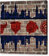 Chicago Sports Team Flag On Brick Acrylic Print