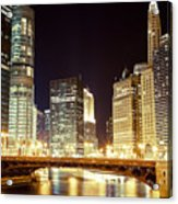 Chicago State Street Bridge At Night Acrylic Print by Paul Velgos