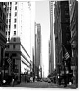 Chicago Street With Flags B-w Acrylic Print