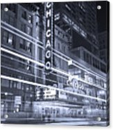 Chicago Theater Marquee B And W Acrylic Print