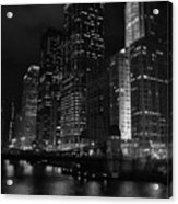 Chicago Wacker Drive Night Portrait Acrylic Print
