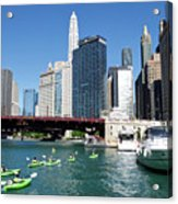 Chicago Watching The Kayaks On The River Acrylic Print