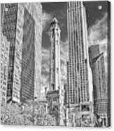 Chicago Water Tower Shopping Black And White Acrylic Print