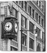 Chicago's Father Time Clock Bw Acrylic Print
