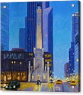 Chicago's Water Tower At Dusk Acrylic Print
