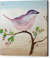 Chickadee Standing On A Branch Looking Acrylic Print