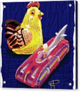 Chicken And Rocket Car Acrylic Print