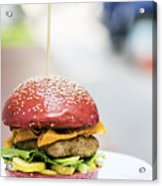 Chicken Burger With Gherkins Beetroot Bread Bun Acrylic Print