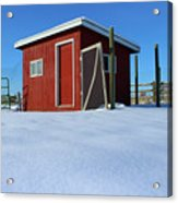 Chicken Coop In Snow Covered Field Acrylic Print