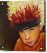 Chief Wannabee #2, Native American Indian Child   Acrylic Print