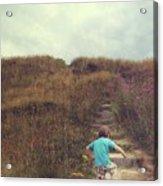Child On Stairs On Beach Acrylic Print