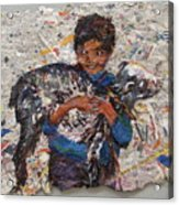 Child With Goat On Handmade Paper Acrylic Print
