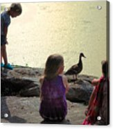 Children At The Pond 1 Acrylic Print