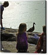 Children At The Pond 1 Version 2 Acrylic Print