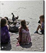 Children At The Pond 2 Acrylic Print