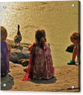 Children At The Pond 4 Acrylic Print