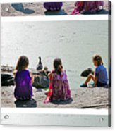 Children At The Pond Triptych Acrylic Print