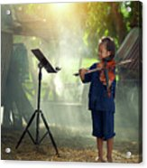 Children In Folk Costumes Playing Violin In Thailand Acrylic Print