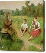 Children Listen To A Shepherd Playing A Flute Acrylic Print