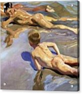Children On The Beach Acrylic Print by Joaquin Sorolla y Bastida