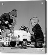 Children Play At Repairing Toy Car Acrylic Print