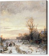 Children Playing In A Winter Landscape Acrylic Print
